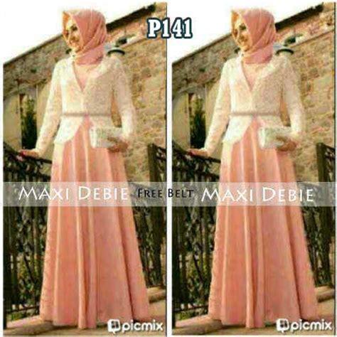Baju Muslim Wanita Maxi Dewi Pink maxi pesta s141 kombinasi brokat gaun gamis muslim brukat