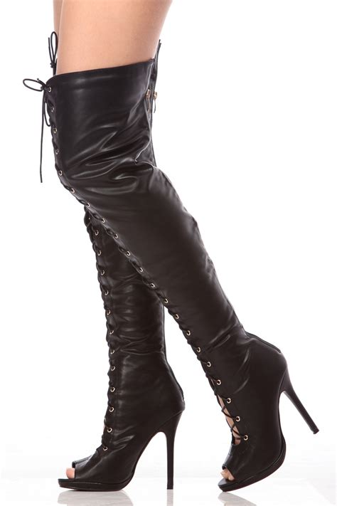black faux leather peep toe thigh high boots cicihot