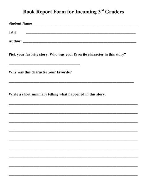 book reports 5th grade free printable book report forms for 3rd graders my book