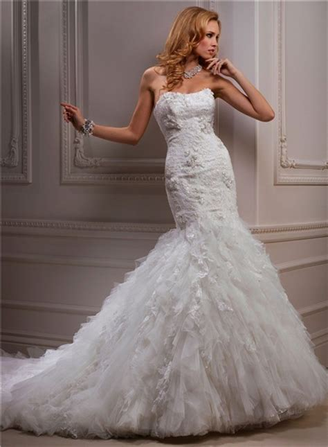 fitted mermaid strapless beaded tulle wedding dress