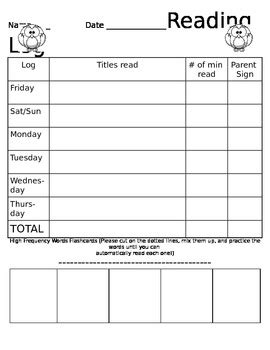 Owl theme Reading Log by SJ   Teachers Pay Teachers