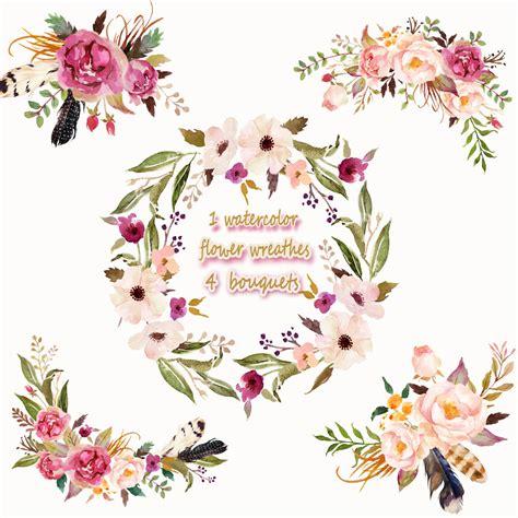 Victorian Home Design Elements by 1 Watercolor Flower Wreathes Amp 4 Flower Bouquets Floral