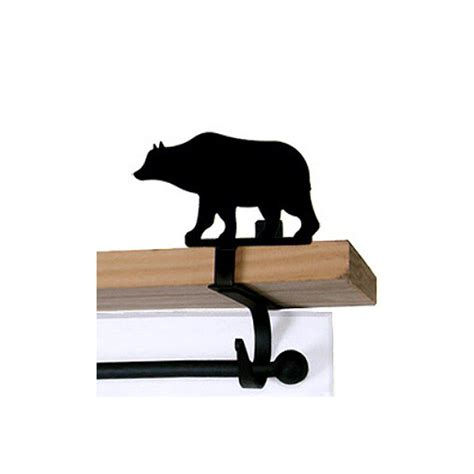 bear curtain rods cabin bear curtain rod shelf brackets pair cabin
