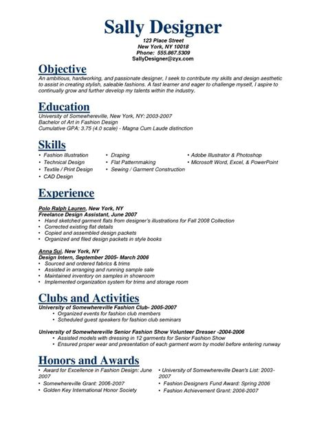 Fashion Stylist Resume by 1000 Ideas About Resume Objective Exles On