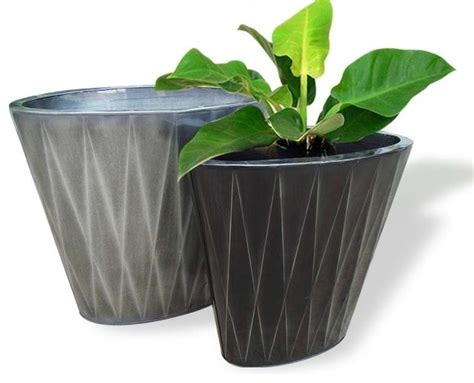 Outside Flower Pots Zinc Flower Pots Asian Outdoor Pots And Planters By