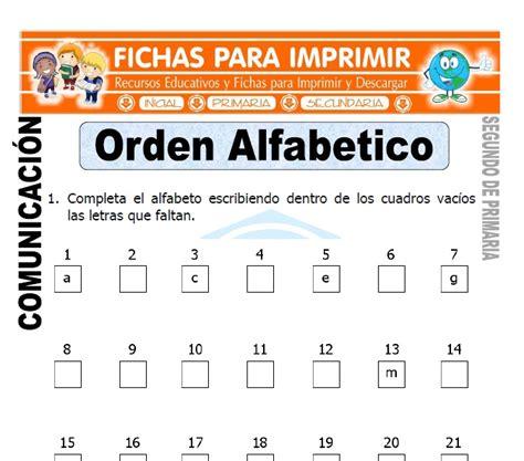 el orden alfabtico 8420473758 orden alfab 233 tico para segundo de primaria fichas para imprimir