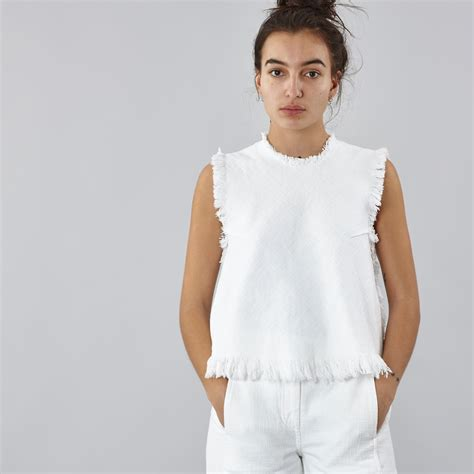 Proklamasi No 19 Top White Xxs t by wang frayed burlap sleeveless crop top white
