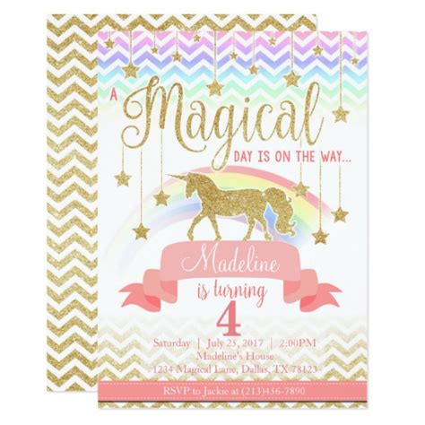 magical rainbow unicorn birthday party invitation zazzle com