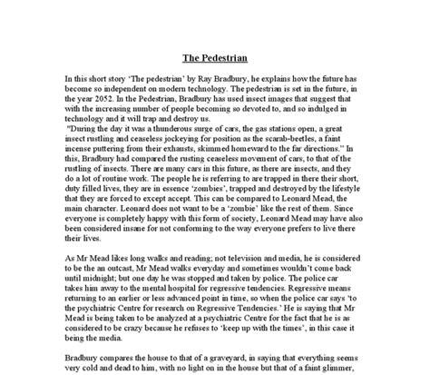 The Pedestrian By Bradbury Essay by College Essays College Application Essays The Pedestrian Essay