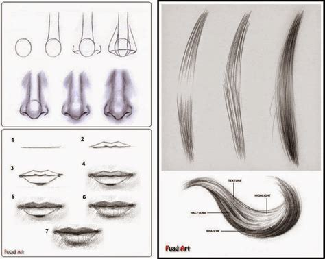 tutorial menggambar watercolor tutorial realis teknik sederhana menggambar hidung bibir