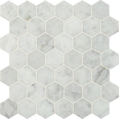 ms international carrara white hexagon 12 in x 12 in x 10 mm polished marble mesh mounted
