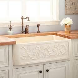 33 Quot Vine Design Polished Marble Farmhouse Sink Cream Marble Kitchen Sink