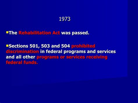 rehabilitation act of 1973 section 501 timeline of relevant events in special education myrnas
