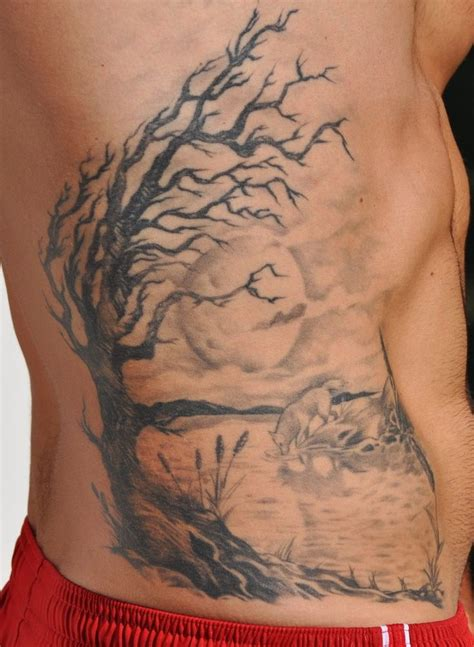 men rib tattoo rib but a cherry blossom tree tattoos