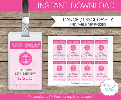 Free Download Vip Ticket Pass Template Set For Party With Pink Color And Disco Ball Thogati Vip Ticket Template