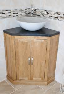 Corner bathroom black quartz oak cabinet cloakroom vanity