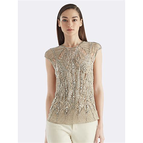 Ralph Janelle Beaded Silk Top In Lyst