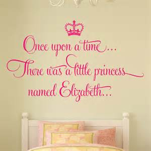 personalised once upon time princess wall sticker decal girls bed