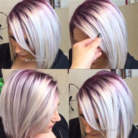 hair shadowing dark purple green and blonde on top brown on bottom silver blonde hair with dark purple roots hair color