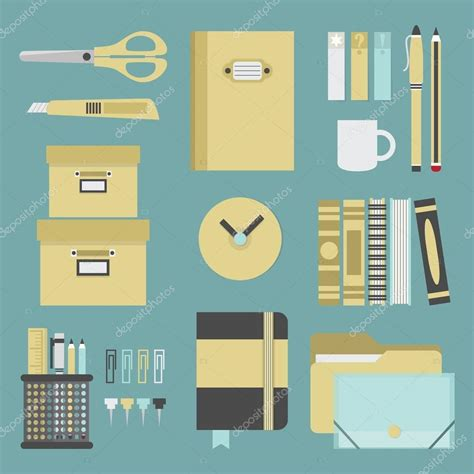 office set design office supplies and stationery icons set flat design