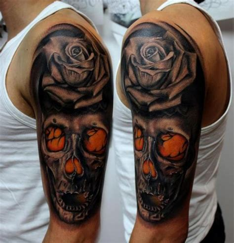 schulter blumen totenkopf tattoo von puedmag custom ink