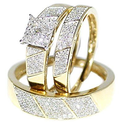 new wedding rings set for him and 14k yellow gold