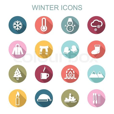 Winter long shadow icons, flat vector symbols   Stock Vector   Colourbox