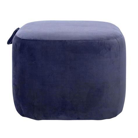 bloomingville scandinavian blue pouf square velvet