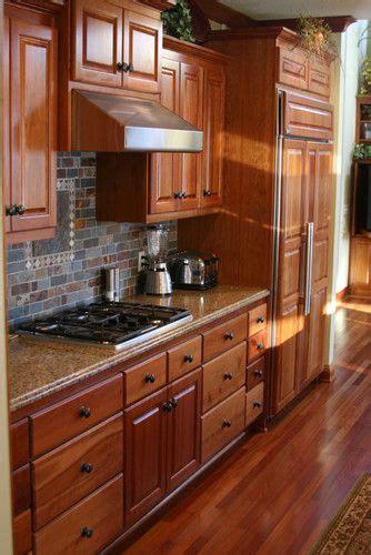 cherry kitchen  slate backsplash traditional