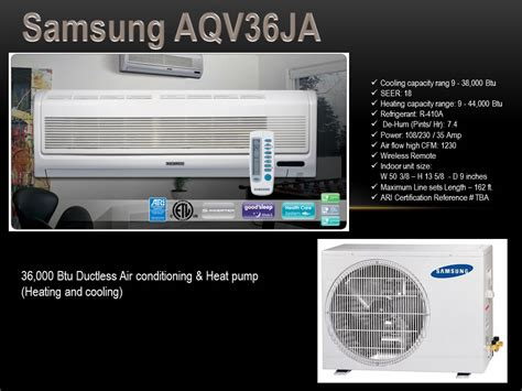 samsung comfort cooling system samsung aqv36ja 36 000 btu ductless air conditioning