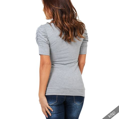 Simple Tunik 3 womens simple ruched sleeve stretch jersey t shirt top tunic size 4 16 ebay