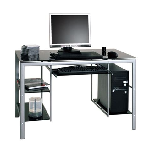 Glass Black Computer Desk by Pico Black And Clear Glass Top Computer Desk With Metal