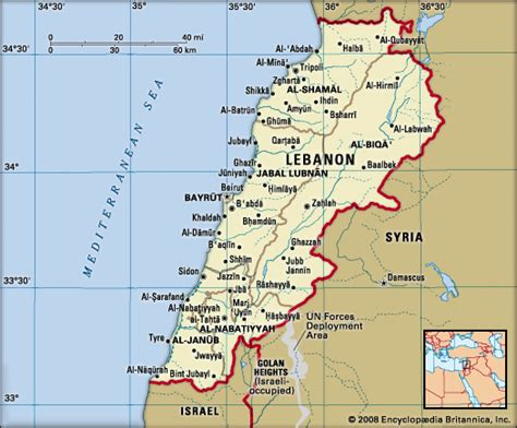physical map of lebanon lebanon encyclopedia children s homework help