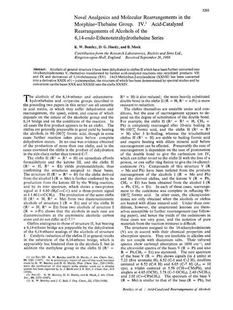 40561677 Novel Analgesics and Molecular Rearrangements in