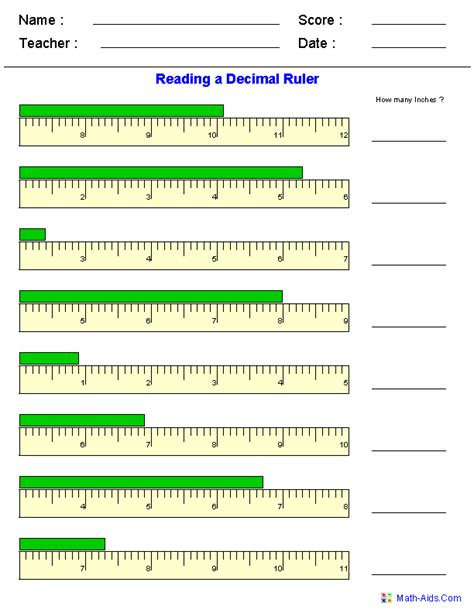 How To Read A Ruler Worksheet measurement worksheets dynamically created measurement