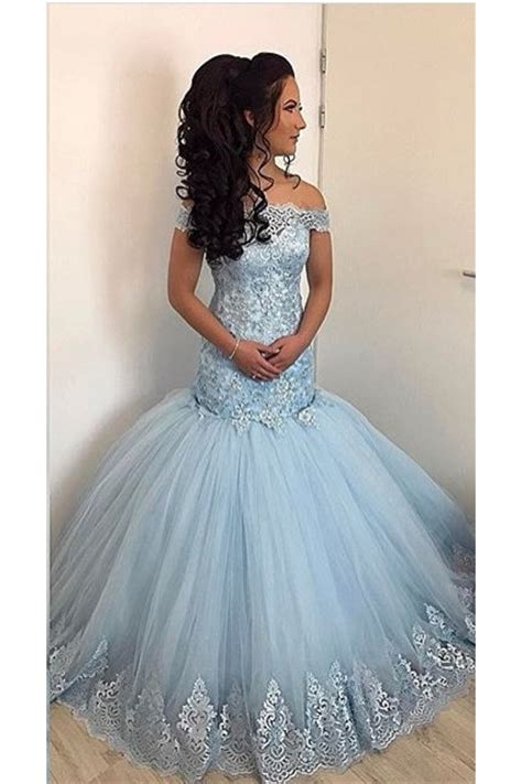 mermaid   shoulder lace appliques long prom formal