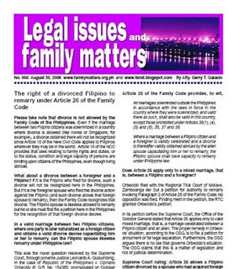 Divorce Newsletter Updates And Free Information Family Code Philippines Divorce Obtained Abroad By A