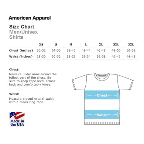 american apparel size chart american apparel size charts hypercandy
