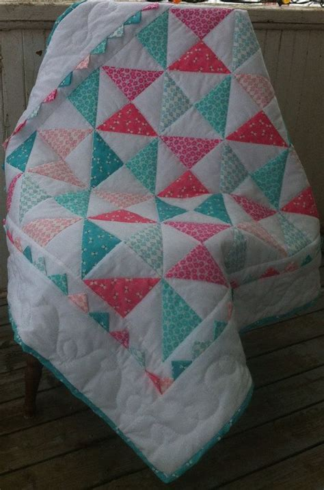 Baby Blanket Quilt Patterns by Crib Quilt Blanket Baby Quilted Aqua And Pink