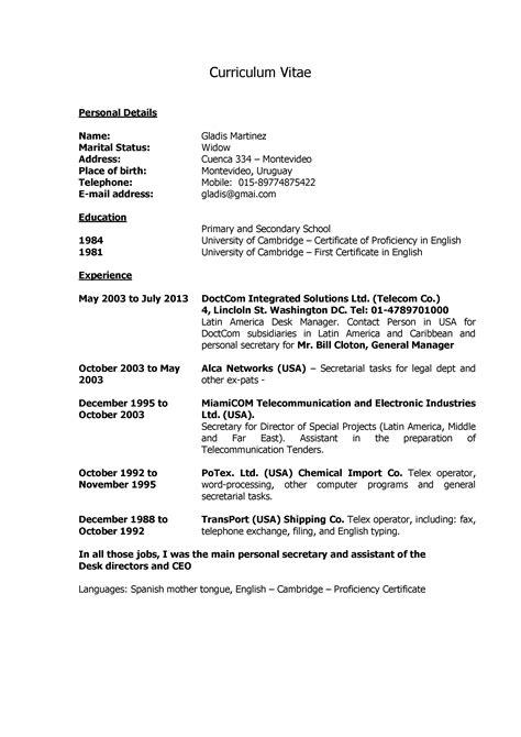 Ejemplo de cv para Secretaria Administrativa Bilingue