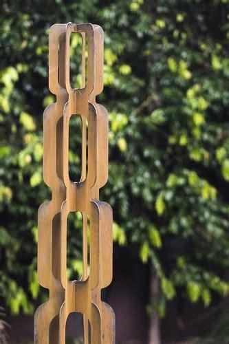 outdoor metal garden sculpture totem groove