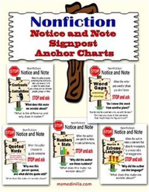 reading nonfiction notice note stances signposts and strategies reading nonfiction notice and note bookmarks free based