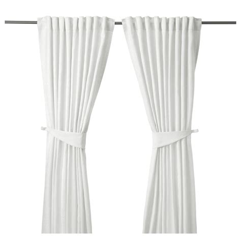 ikea curtain tie backs blekviva curtains with tie backs 1 pair white 145x250 cm