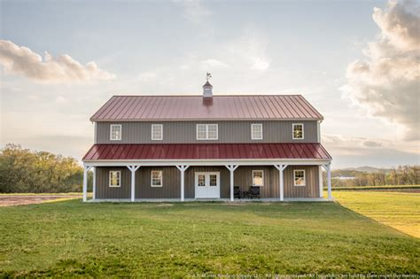 two barns house two story pole barn with colonial red abseam roof and