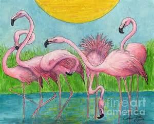 Duvet Cover Printing Flamingo Flock Tropical Bird Art Cathy Peek By Cathy Peek
