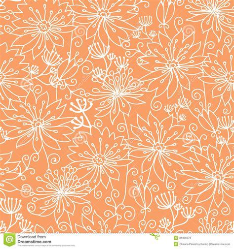 orange pattern vector orange and white lineart flowers seamless pattern stock