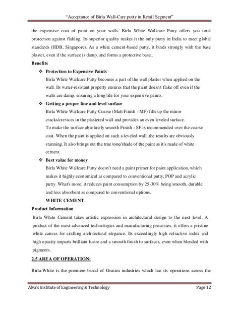 quotacceptance of birla wall care putty in retail quot acceptance of birla wall care putty in retail segment quot
