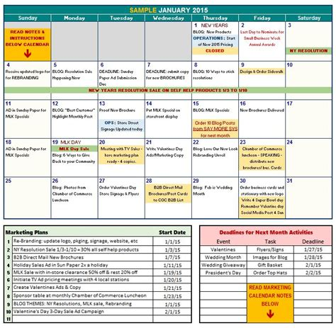 marketing schedule template free 2015 marketing calendar template chantelle kadala