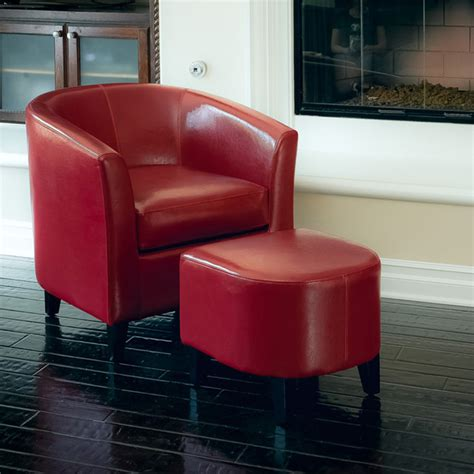 Astoria Red Leather Club Chair Ottoman Set Modern Club Chair And Ottoman Set