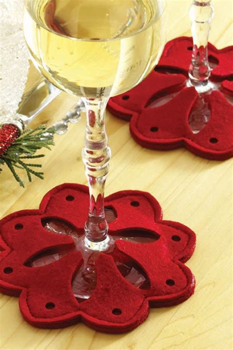 pattern for fabric wine coasters snowflake wine glass coasters red for the home